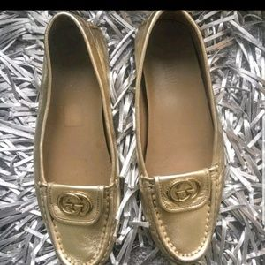 GUCCI💛💝AUTHENTIC SOFT LEATHER BRONZE GG LOAFERS